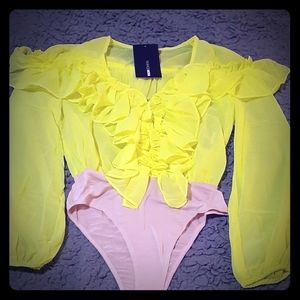 Ruffled  neon bodysuit